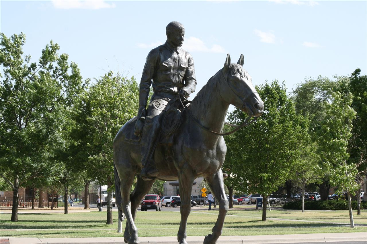 Bronze statue of Will Rogers, titled ôInto the Sunset,ö depicts Rogers on his horse, Soapsuds, is a well known and revered landmark on the Texas Tech University campus