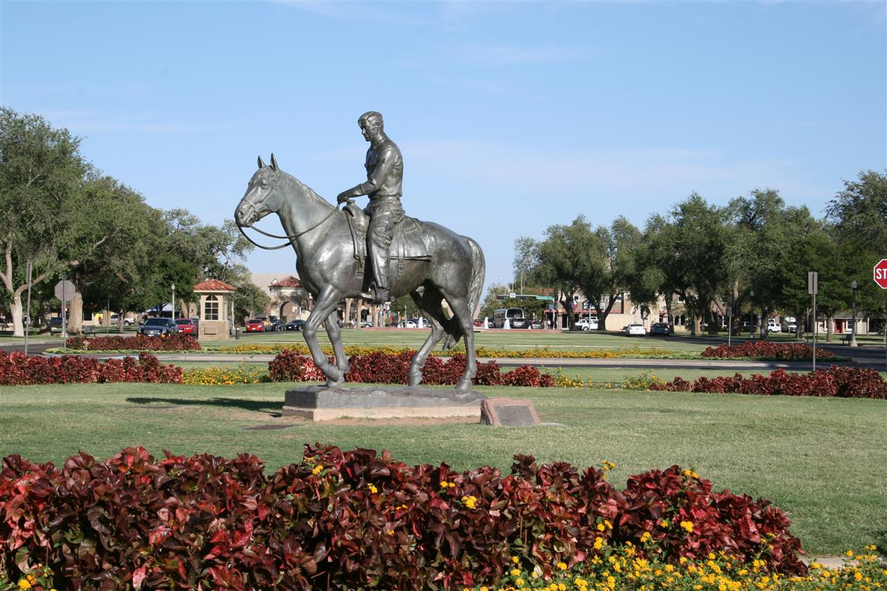 Will Rogers statue is the central focus along the entrance to the Texas Tech University campus.