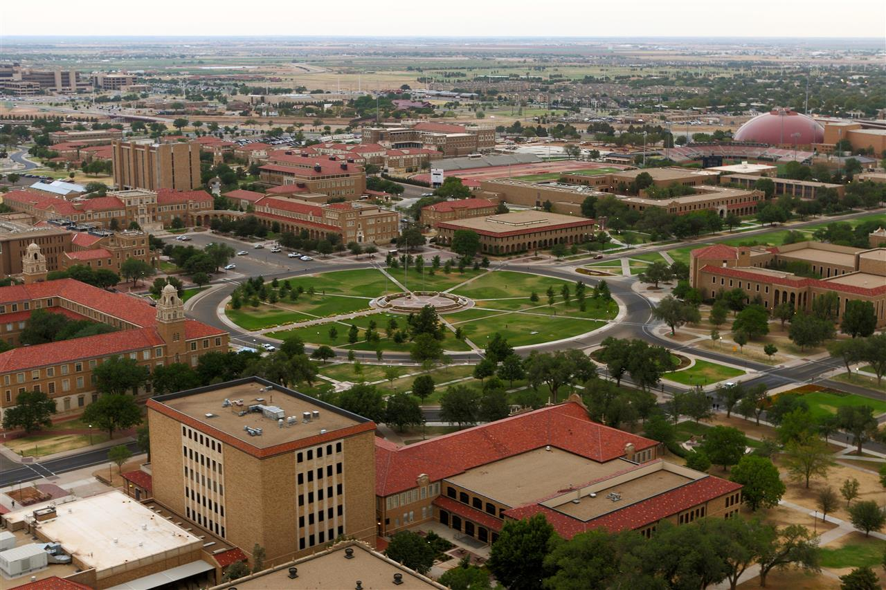 The Circle and the Spanish architecture of the Texas Tech campus are highlighted in this aerial photo.