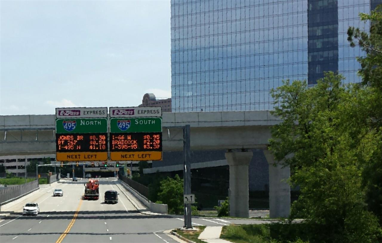 E-Z Pass Entrance at WestPark Drive, Mid-day rates shown. #McLean VA, #Tysons Corner