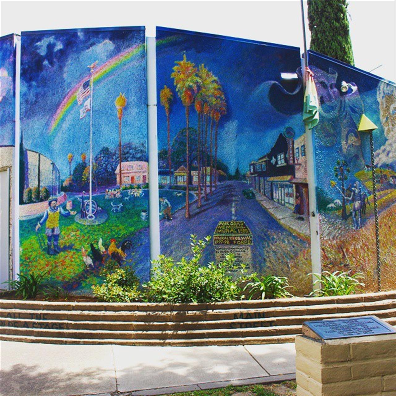 Fair Oaks Memorial Mural located in Old Fair Oaks and part of the Fair Oaks Amphitheater, Plaza Park. Painted by local artist High Gorman. #leadingrelocal #lyonrealestate #fairoaks #fairoaksamphitheatre #localartist
