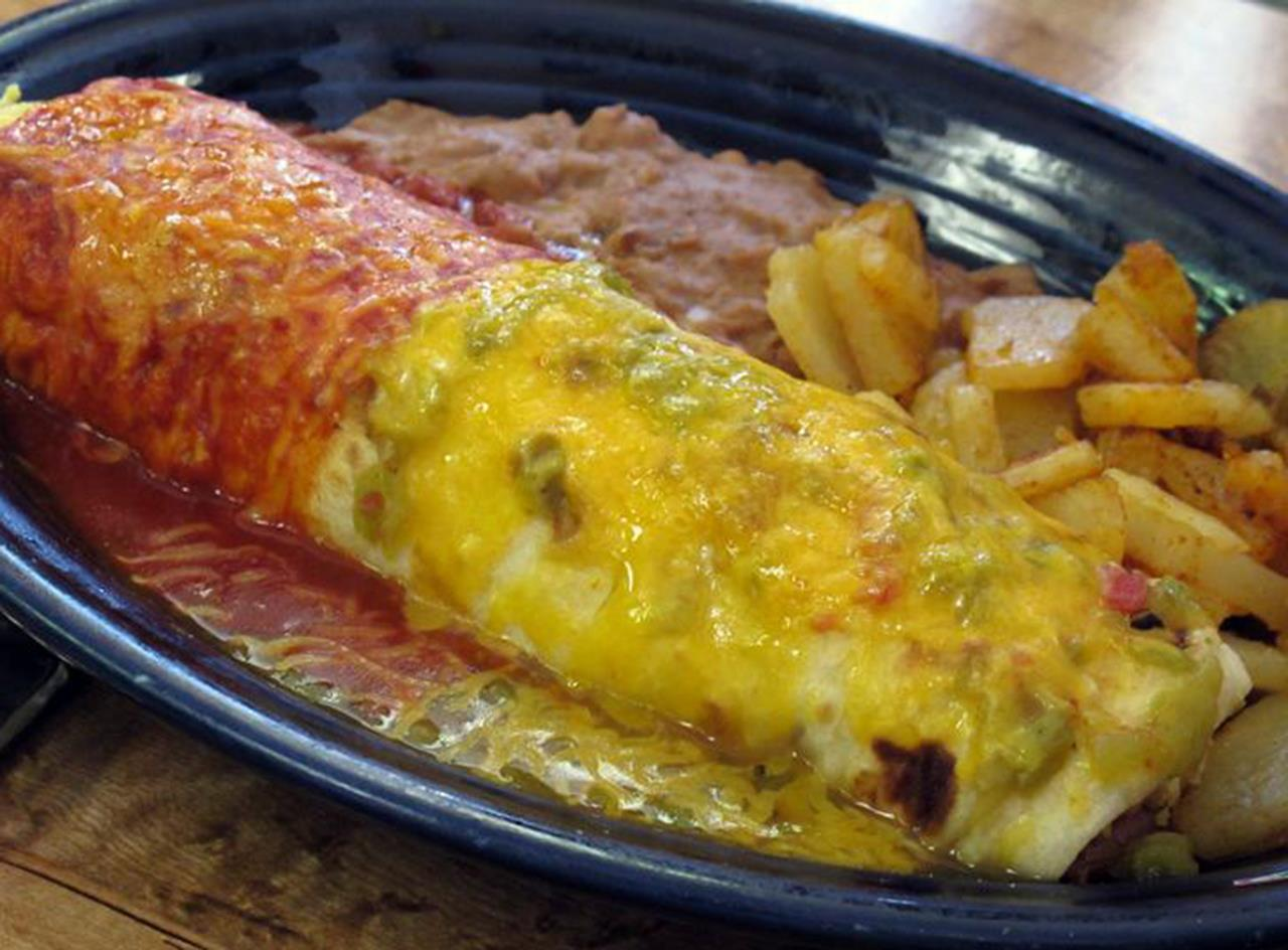 #Taos culture #Northern New Mexico cuisine #burrito with Christmas #red and green chili #Taos #New Mexico