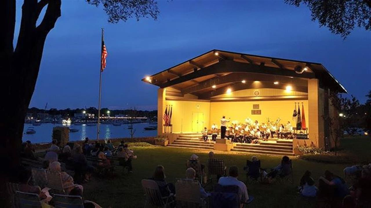 The Port Washington Community Summer Concert Band Honoring the Port Lions Club at the John Philip Sousa Memorial Band Shell in Sunset Park on Manhasset Bay in Port Washington, NY.