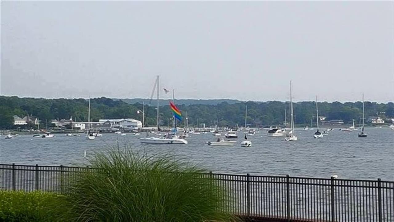 """Pride"" sailing by on Manhasset Bay in Port Washington, NY."