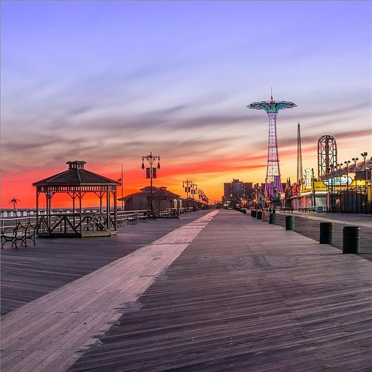 The #coneyisland sky painted with colorful hues! (Photo from @finestgearnyc)
