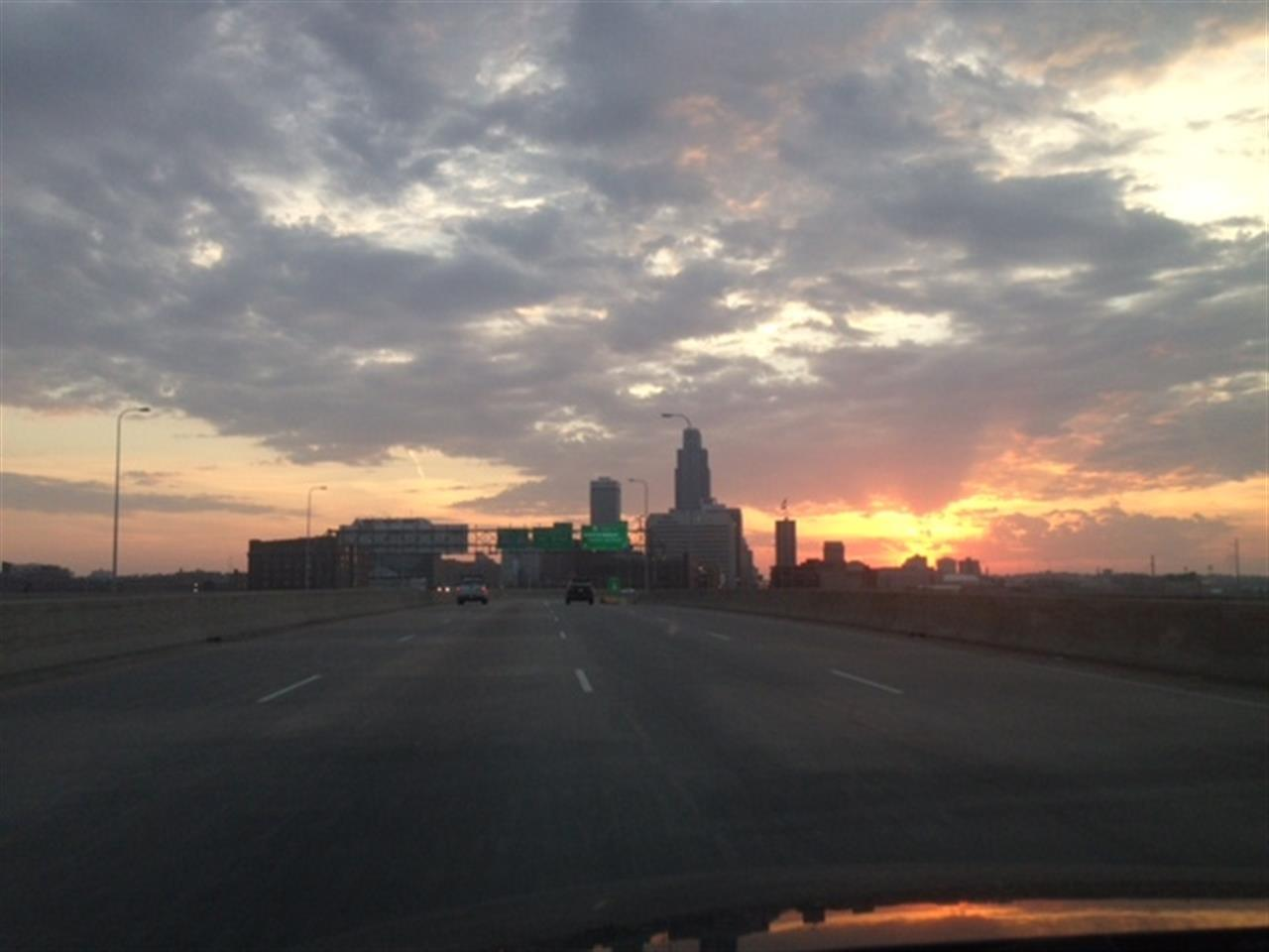 On interstate driving from Council Bluffs over bridge to Omaha - Omaha Skyline Omaha NE