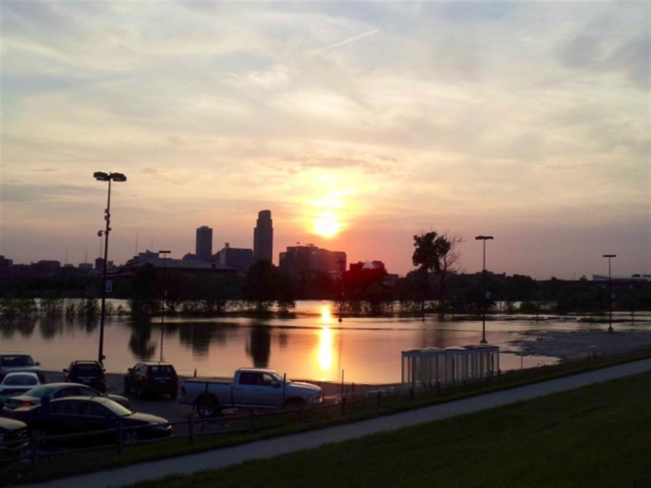 Downtown Omaha Skyscape over Missouri River Omaha NE