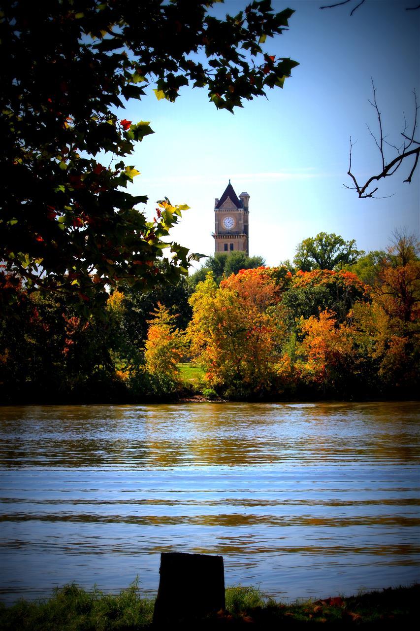 Shapiro Clock tower and  Kankakee River