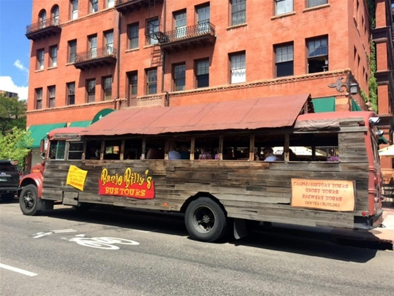 Banjo Billy is a popular site around Downtown Boulder. It's a tour bus that gives both historical and ghost story tours of Boulder.