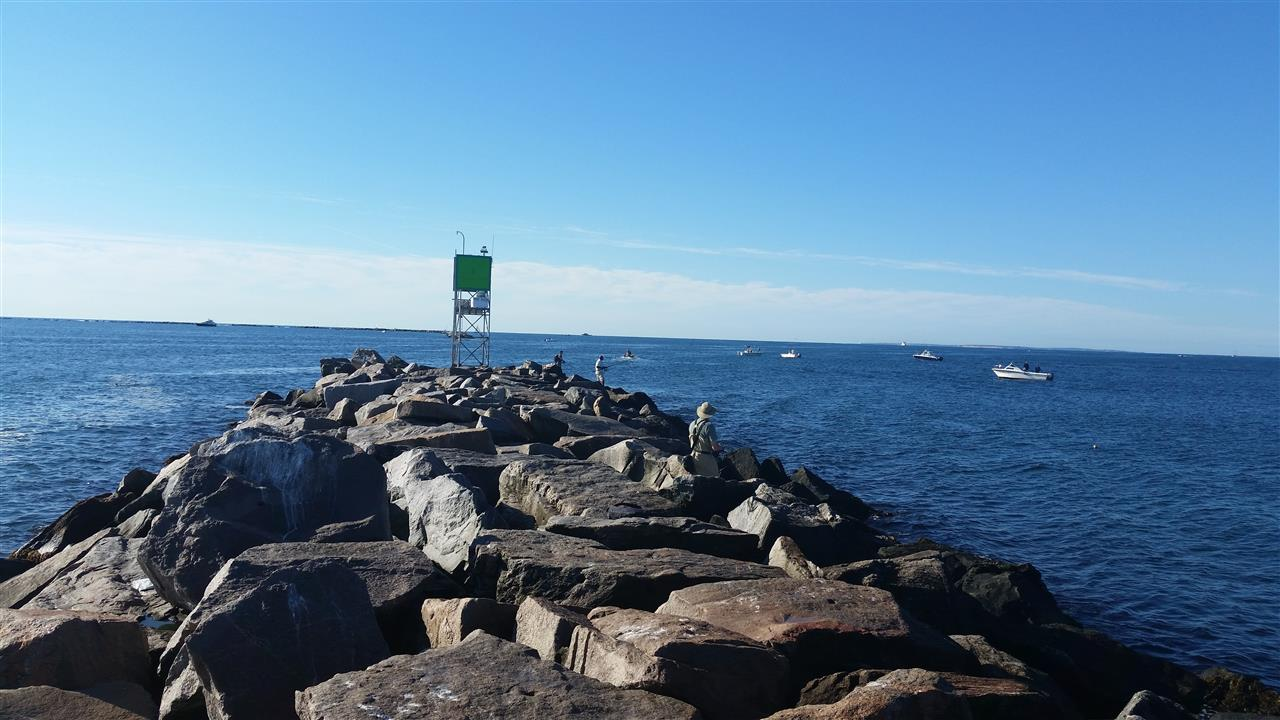 The jetty at Point Judith, Rhode Island