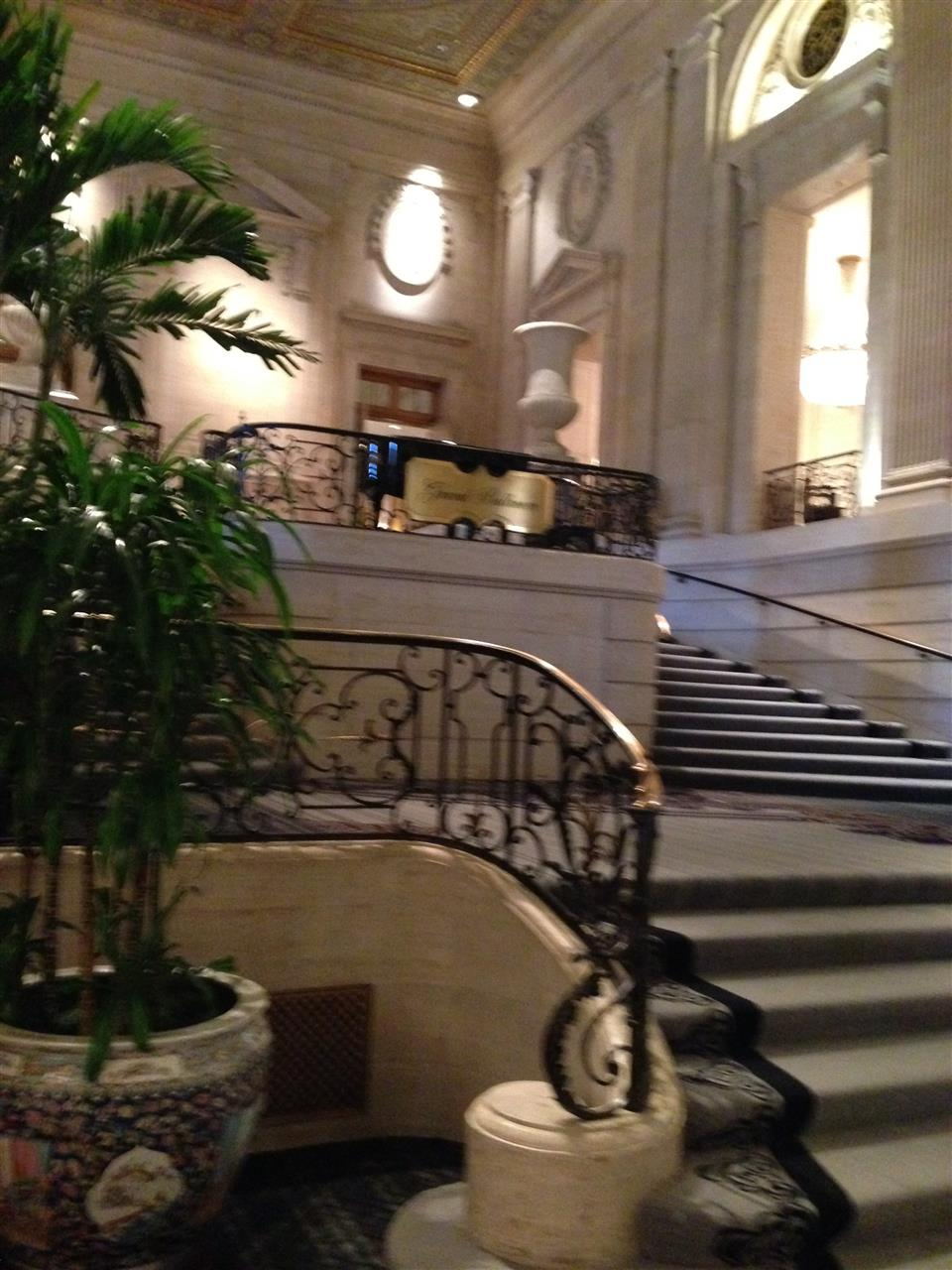 Staircase in the lobby of the Hilton Hotel, Chicago, Ill