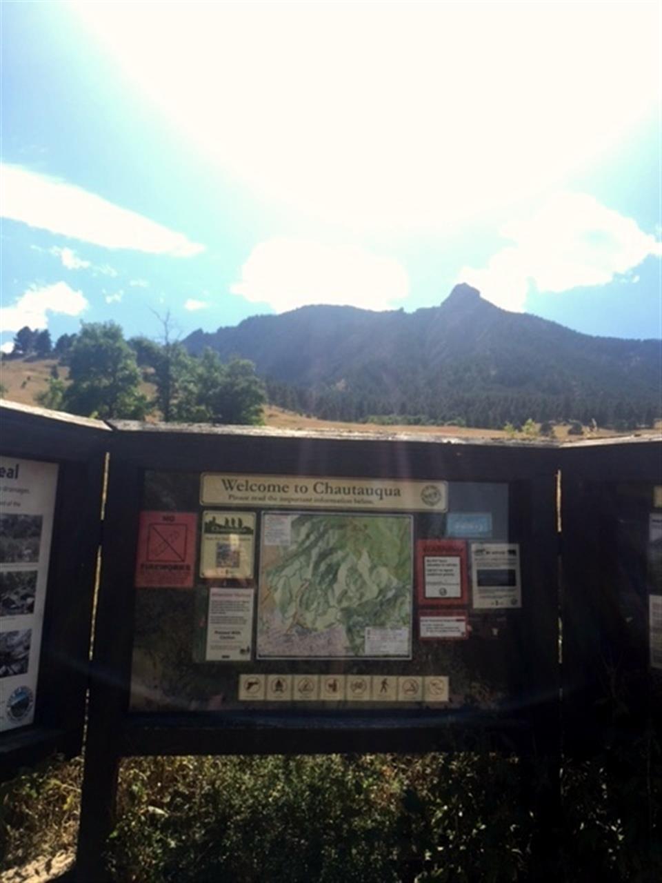 """""""Welcome to Chautauqua Park"""" Trail head"""