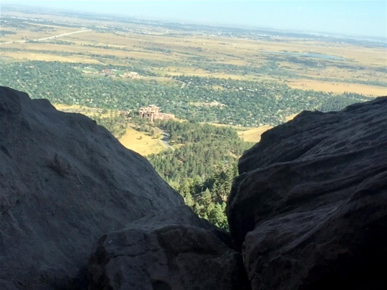 Looking down into Boulder (the building is NCAR - National Center for Atmospheric Research) from the Royal Arch, Chautauqua Park Boulder CO.