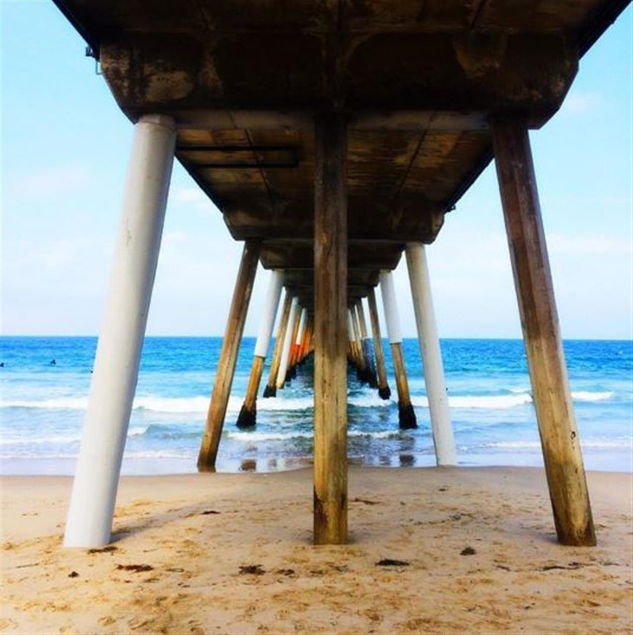 Under the Hermosa Beach pier, Los Angeles, CA