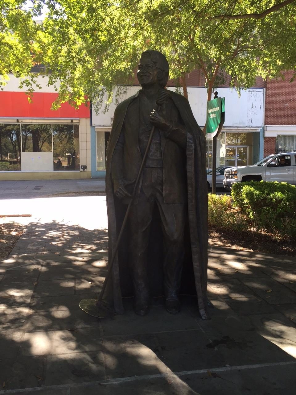 Augusta is home to the Godfather of Soul, James Brown.  His statue sits proudly in one of the landscaped medians in downtown Augusta, at the intersection of the rode named for him.