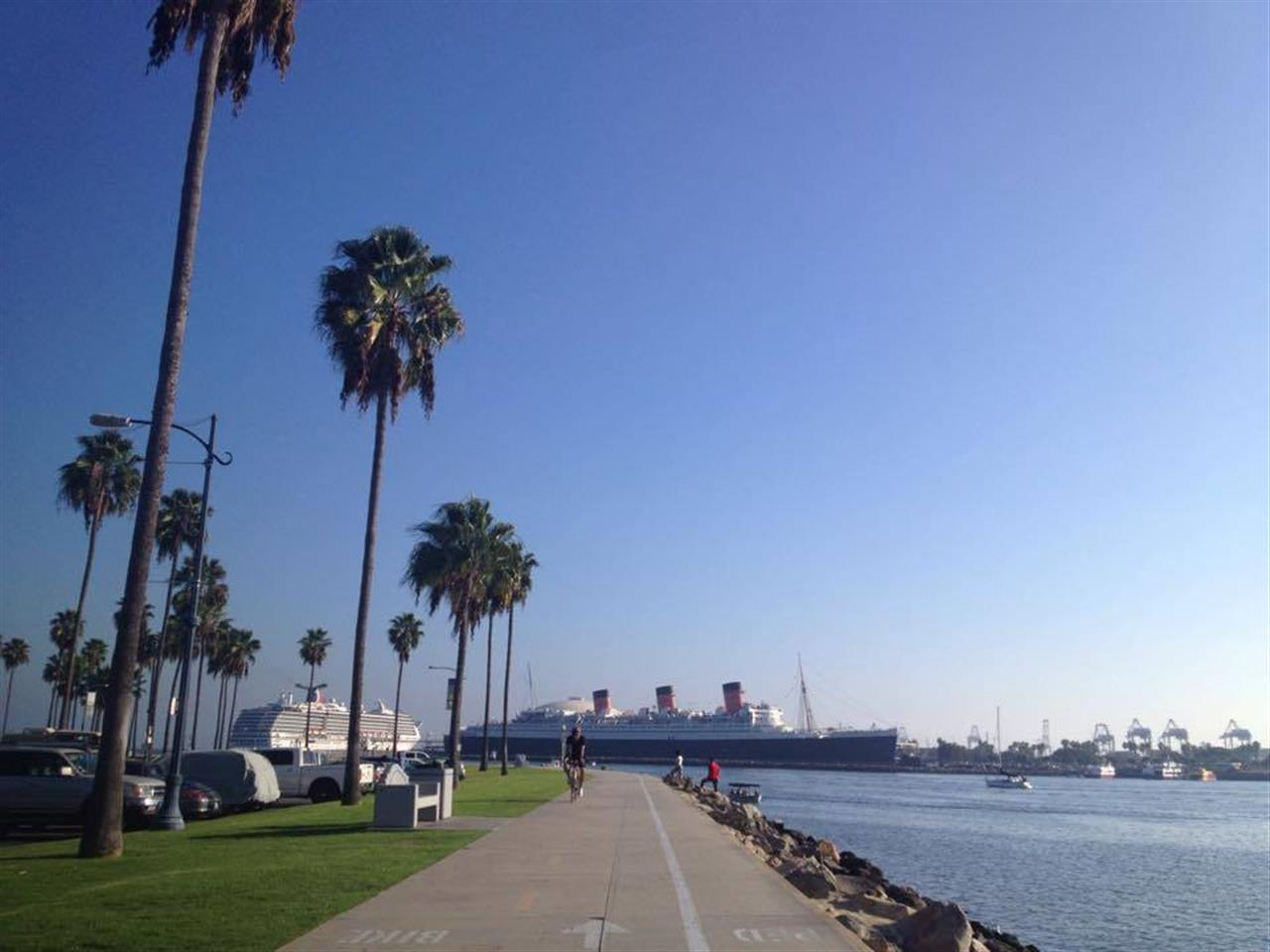 View of the Queen Mary in Long Beach, CA