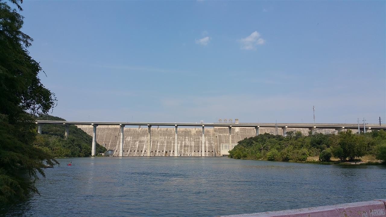 Mansfield Dam - view from low water crossing between the Apache Shores and Steiner Ranch communities ! Cold water right here!