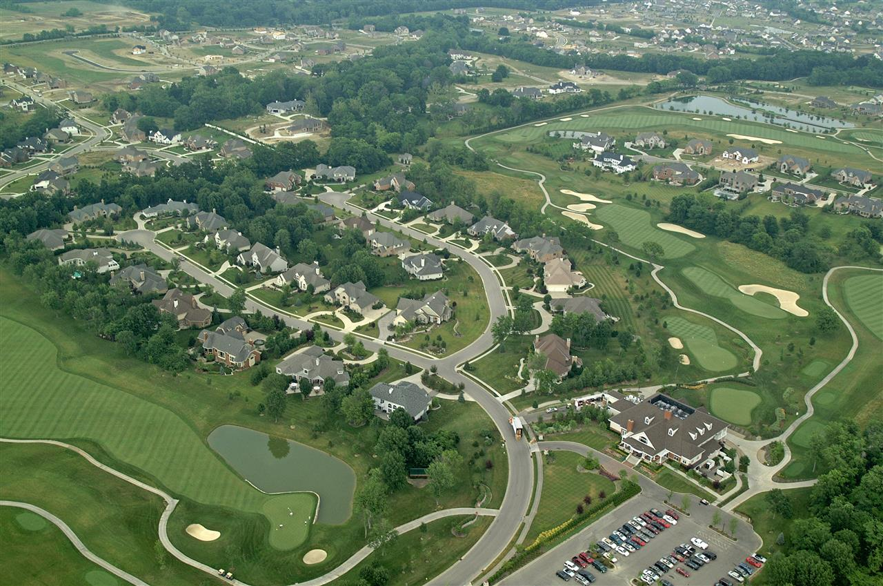 Aerial view of Heritage Club and the town of Mason, OH.