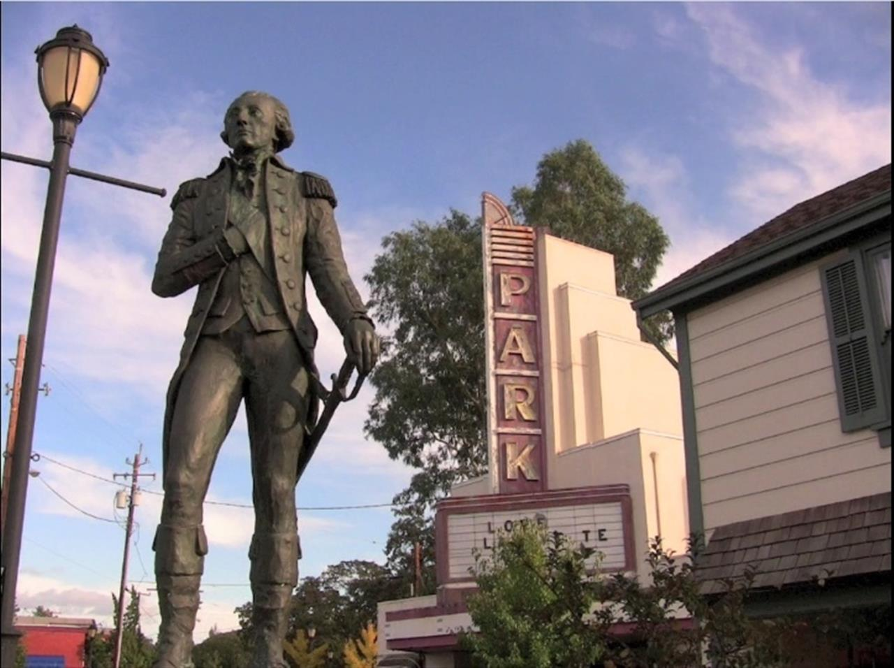 Old Park Theater guarded by the Marquis de Lafayette. Lafayette photos