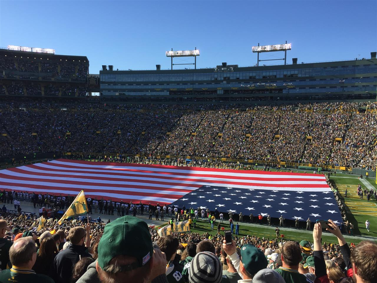Red, white and blue in Lambeau Field, Green Bay, WI