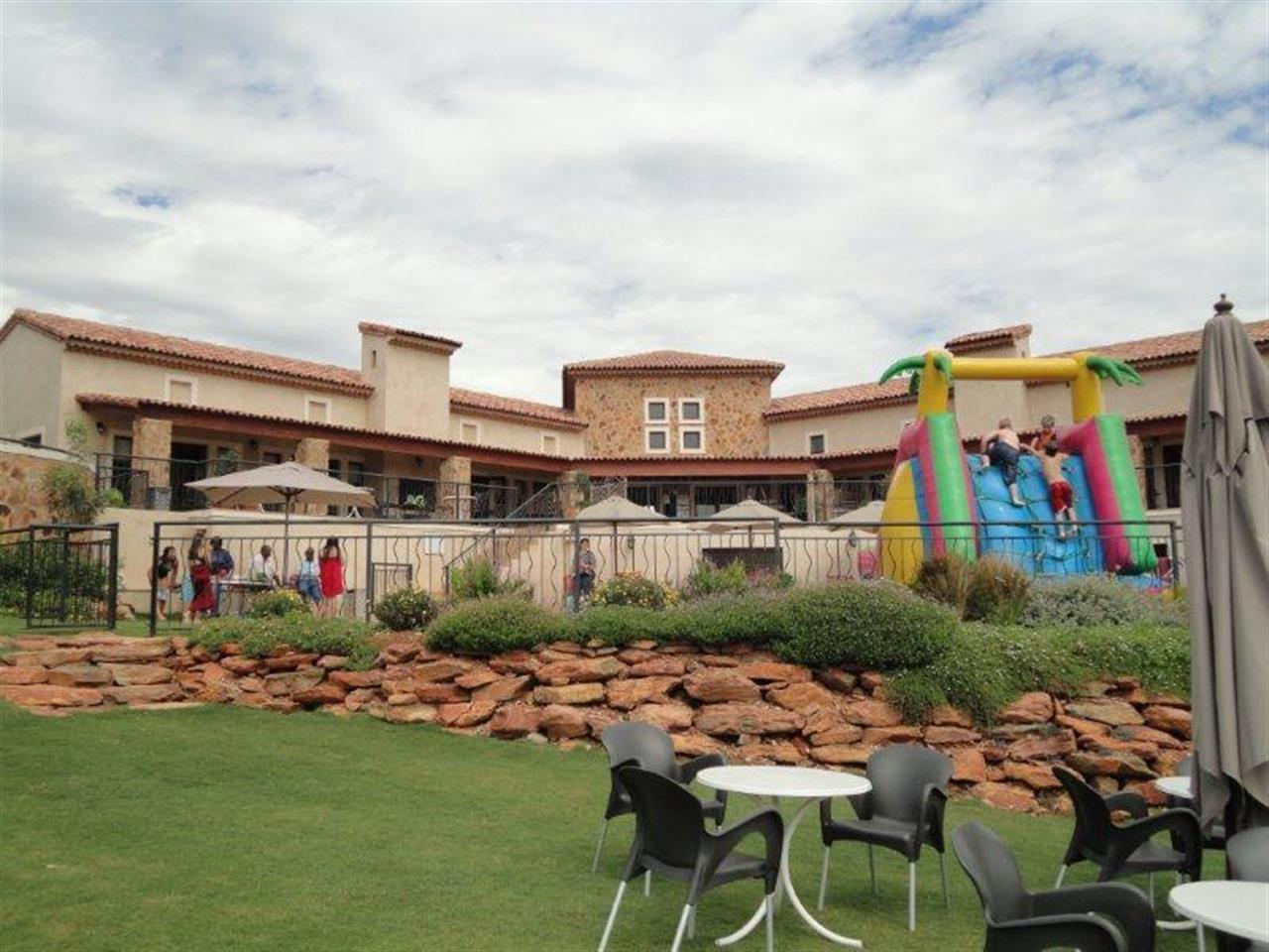Gardens and childrens play area Estate d' Afrique, Hartbeespoort Dam, South Africa