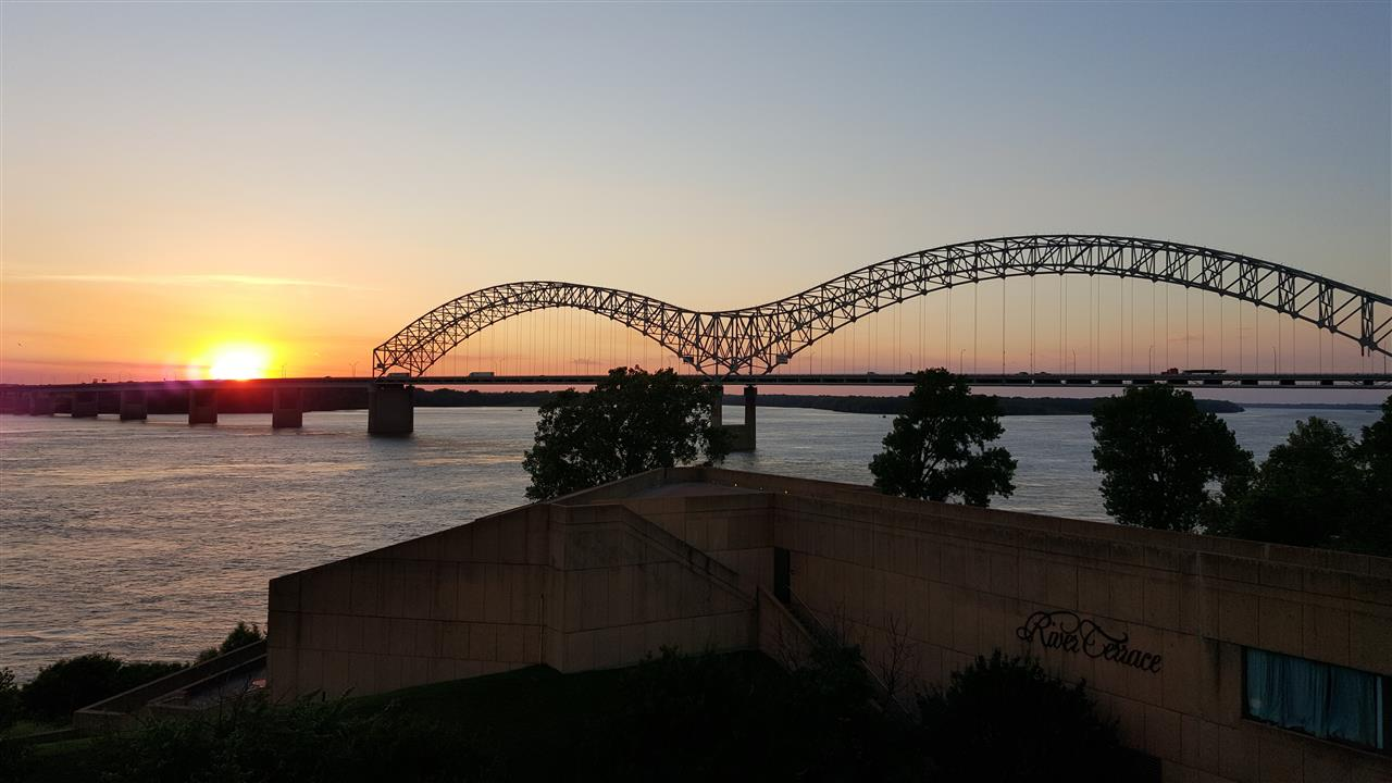 "The Memphis ""M"" Bridge at sunset."