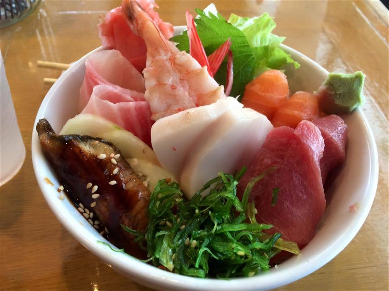 Chirashi lunch special at Blue Reef Sushi To Go near Red Mile Race Track in Lexington, KY