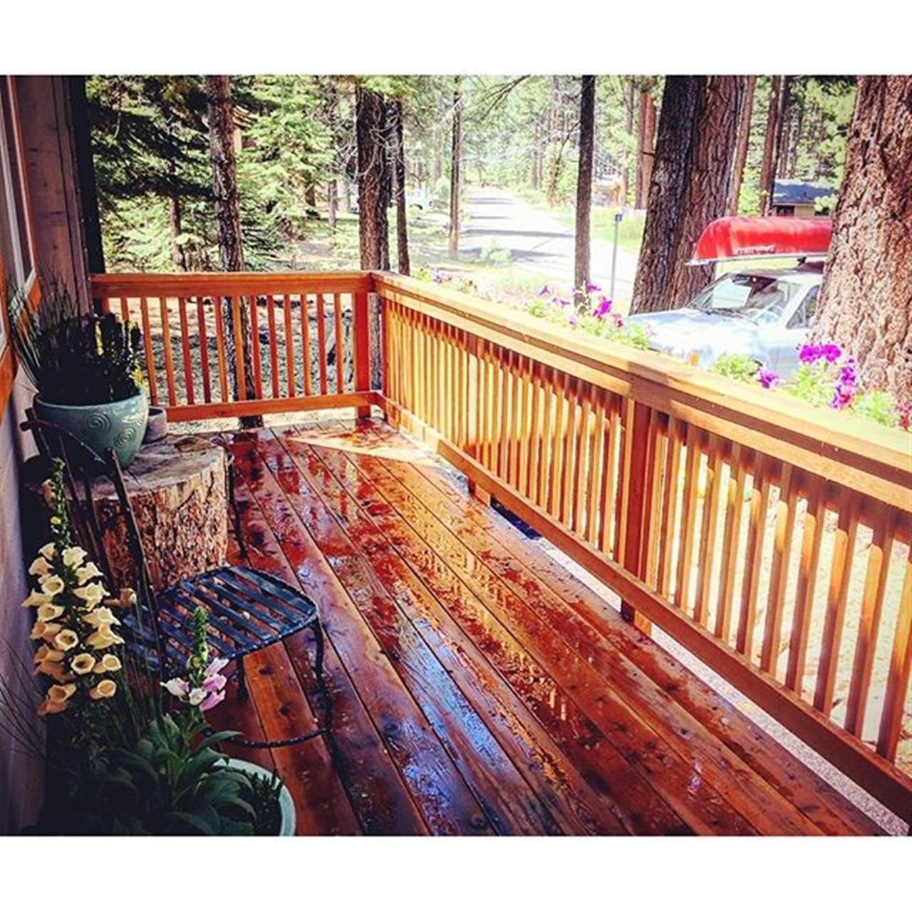 Imagine living in a place where your canoe awaits your arrival after a fresh brewed coffee on the porch in the mornings. Good morning Tahoe! #leadingrelocal #laketahoerealtor #tesla #southlaketahoe