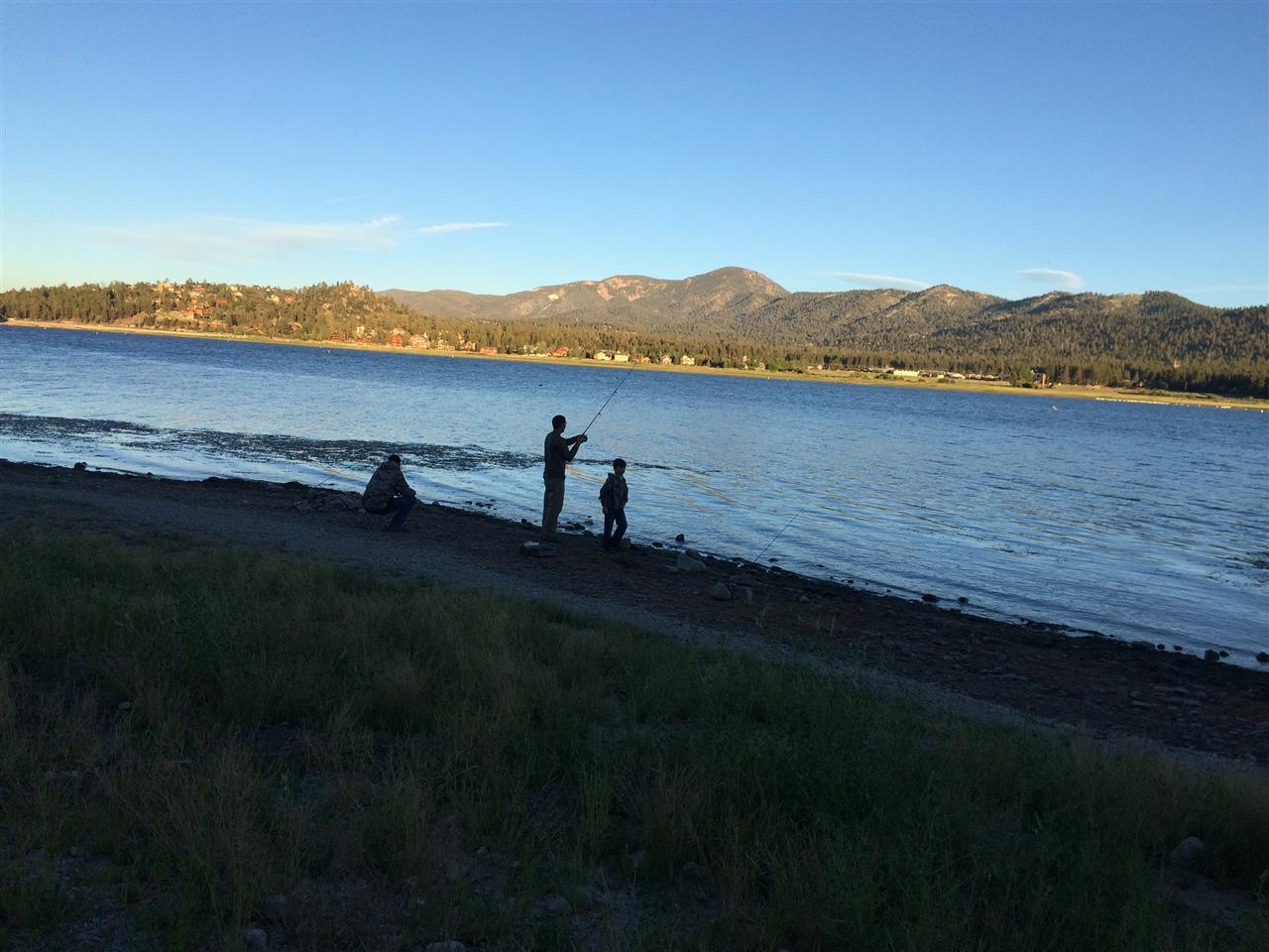 Fishermen at sunset.  Big Bear Lake, CA