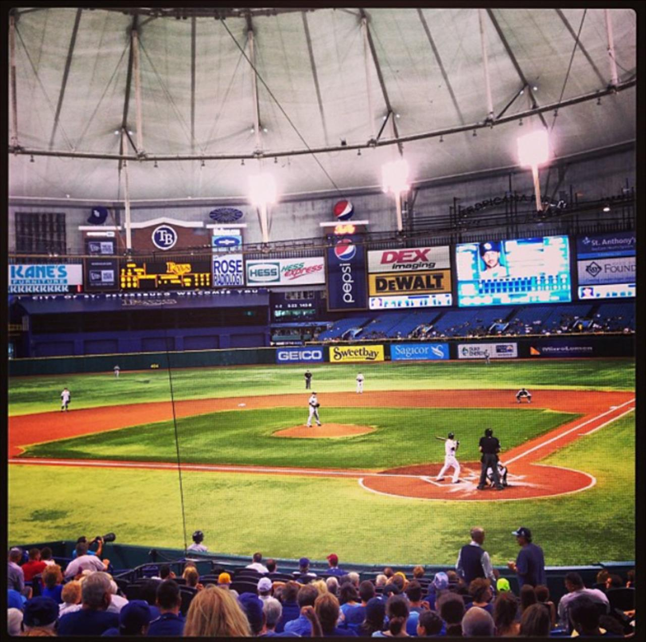 Tampa Bay Rays Baseball Game at Tropicana Field in St. Petersburg, Florida.