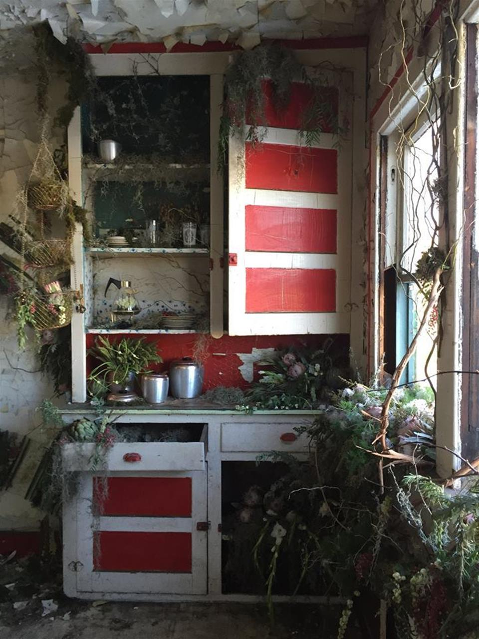 Flower House ~ a weekend-long art installation in October 2015 when florists from across the country filled an abandoned house with fresh flowers & living plants #Hamtramck #flowerhouse #Michigan