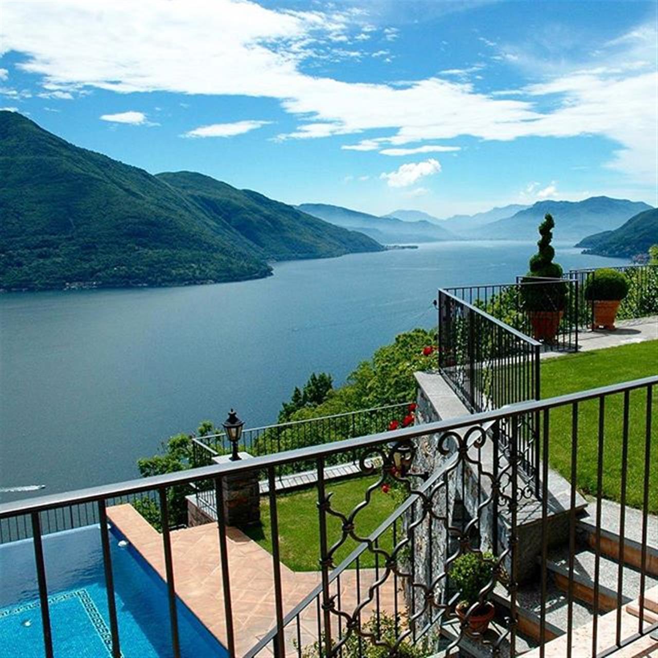 Majestic Mediterranean-style villa with sweeping lake views  BRISSAGO, LAGO MAGGIORE, SWITZERLAND   At a glance   #lakemaggiore #ticino #switzerland