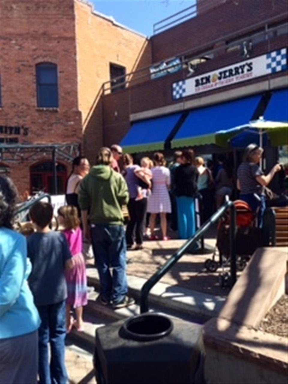 Hundreds gather for Free Ice Cream Day at Ben & Jerry's!