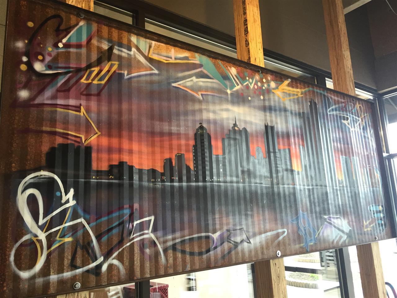 Local-inspired art in Royal OakÆs Detroit Taco Company. #RoyalOak #Michigan