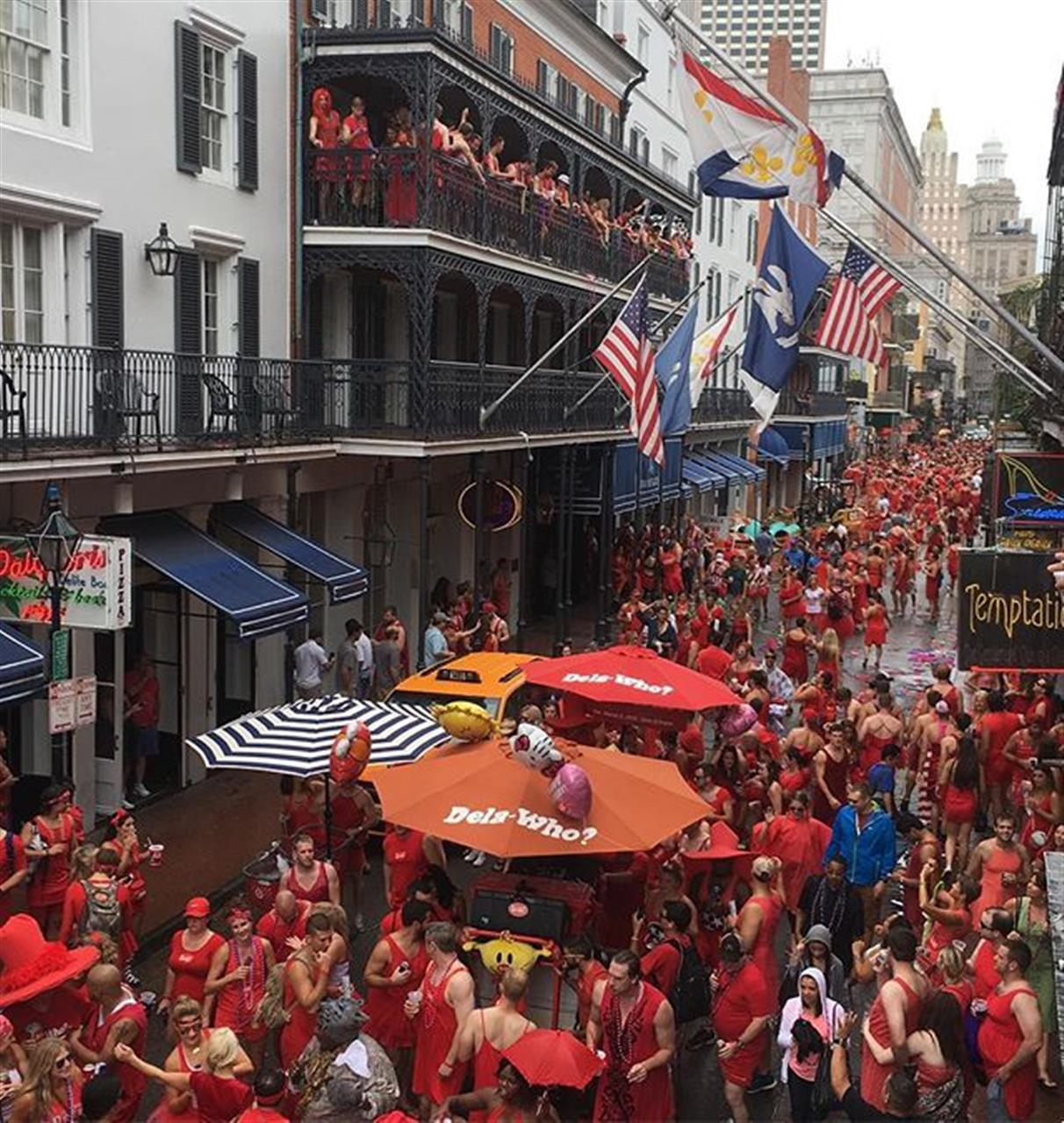 Rain or shine, one of the best days of the year in #NewOrleans #RedDressRun