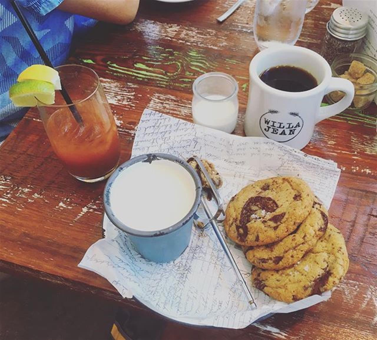 Bloody Mary, coffee, and milk 'n cookies. Just your standard ending to brunch!