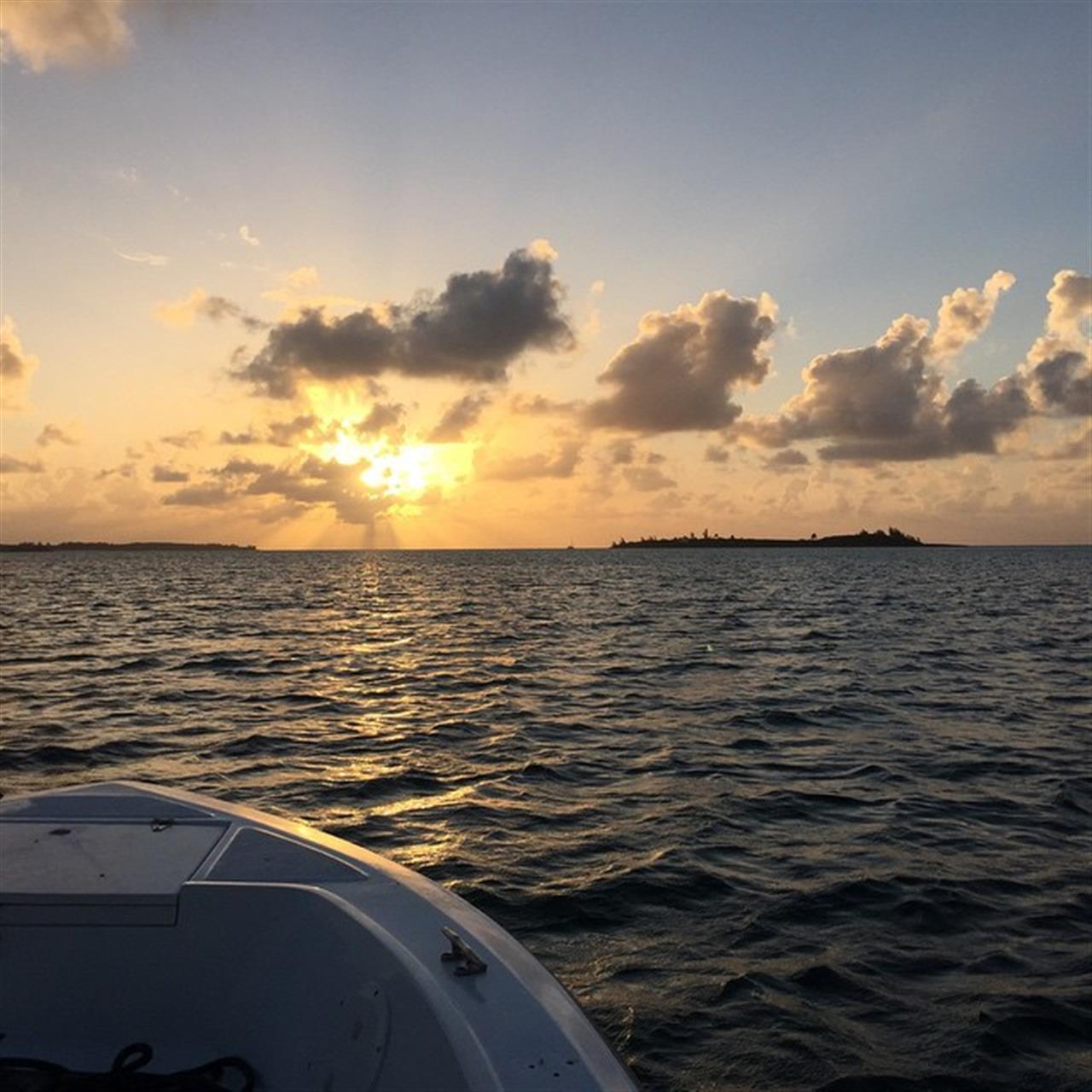 Sunset fishing near Mann Island, Eleuthera. Bahamas