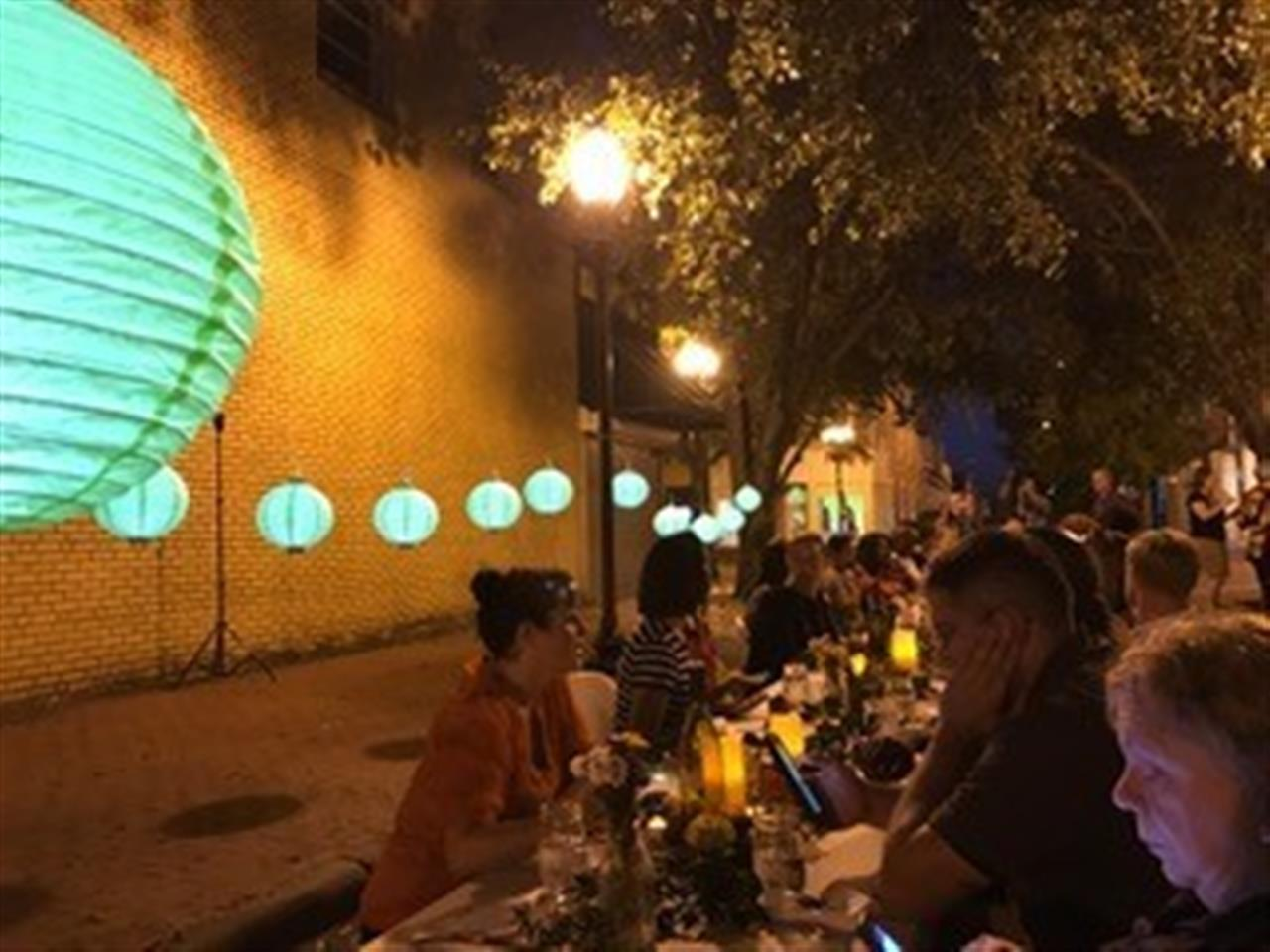 Pop up dinner in downtown Fayetteville presented by Sustainable Sandhills.  Submitted by Townsend Real Estate.
