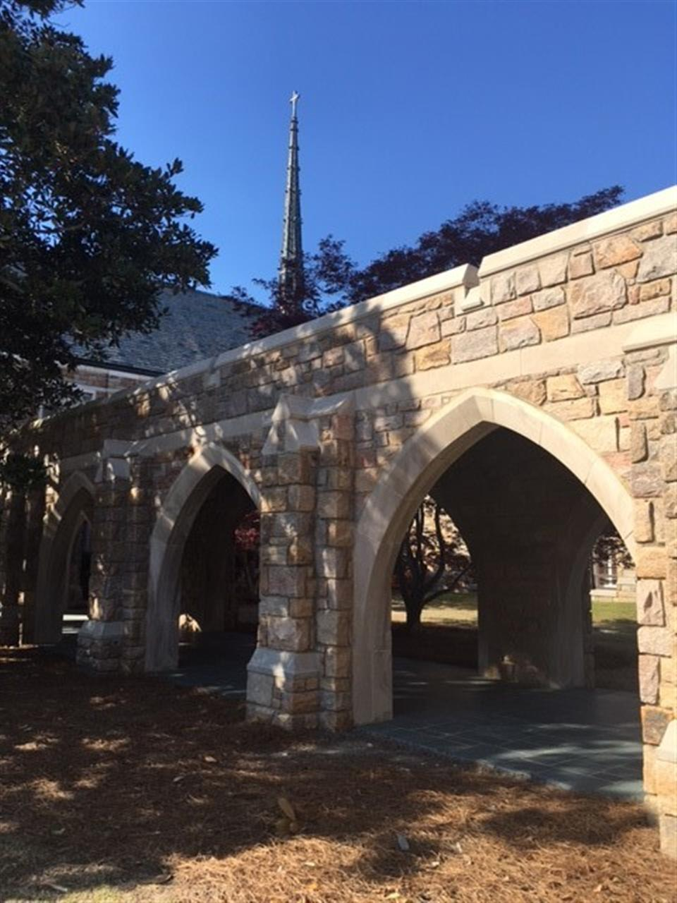 Beautiful stone arches at Haymount United Methodist Church, Fayetteville NC