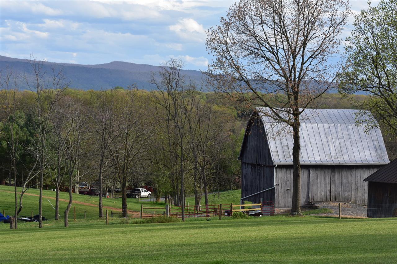 Barn and mountain