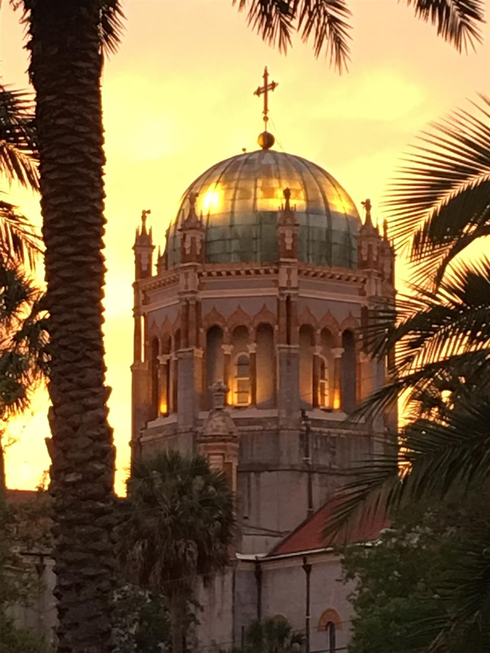 Flagler Memorial Presbyterian Church St Augustine FL at sunset