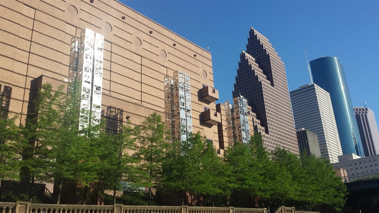 View of Wortham Theater and Downtown from Buffalo Bayou
