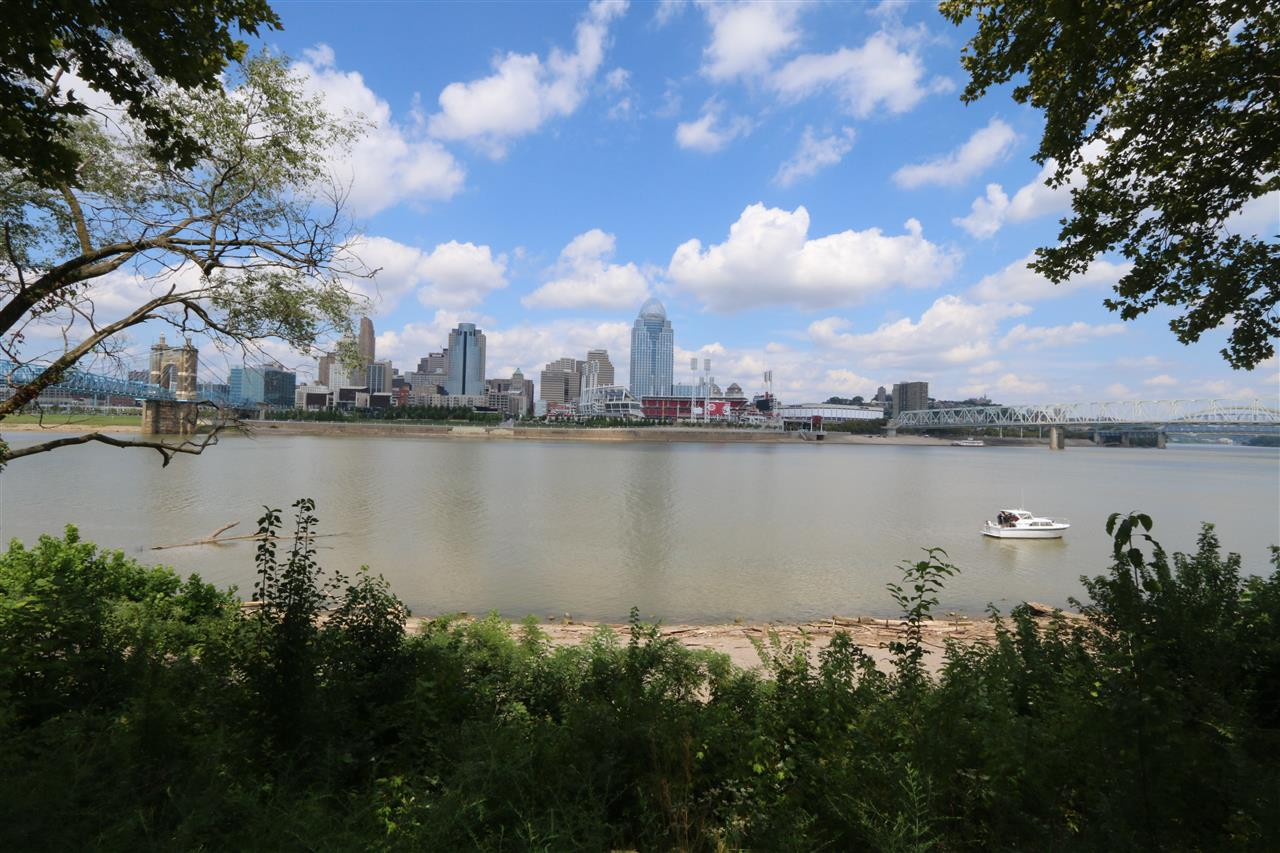 View of Downtown Cincinnati Ohio from Historic Riverside Walk of Downtown Covington Kentucky