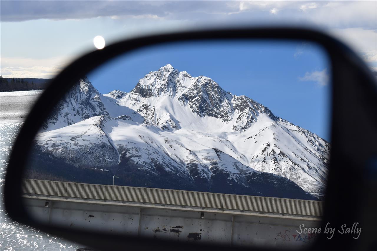 Rear view mirror image of Pioneer Peak, Palmer, Alaska