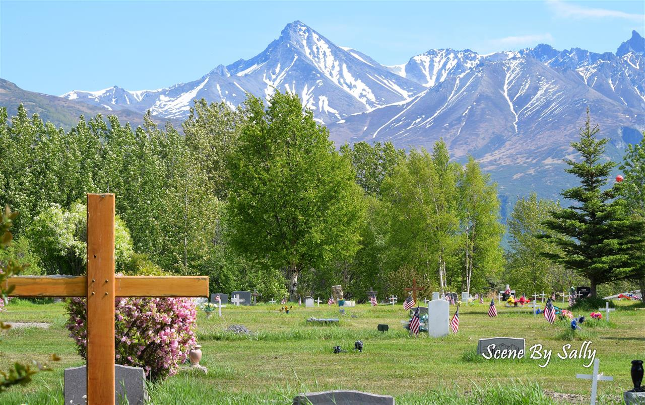 Lazy Mountain backdrop to Pioneer Cemetary, Palmer, Alaska