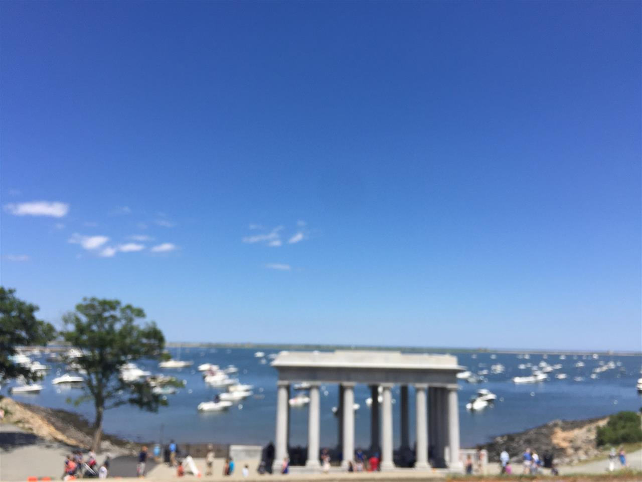View of Plymouth Rock from atop Cole's Hill in Plymouth, MA