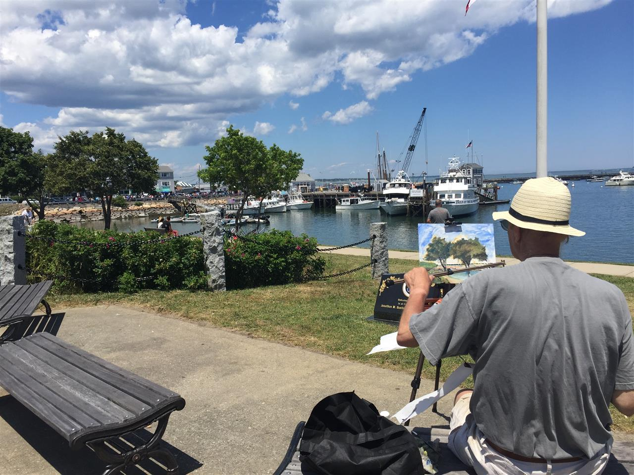 Man painting Plymouth Harbor- Plymouth, MA