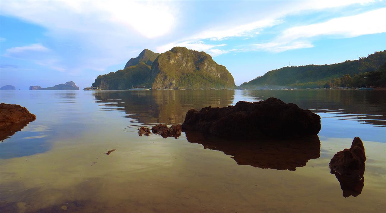 Morning view from the cottage at El Nido in Palawan, Philippines