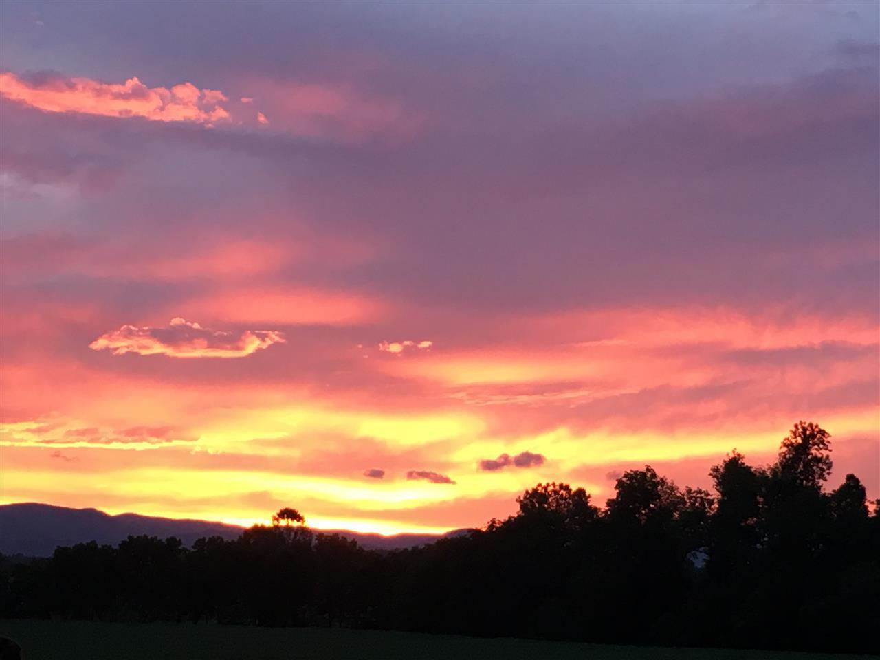 Sunset view from Bluestone Vineyard in Bridgewater, VA