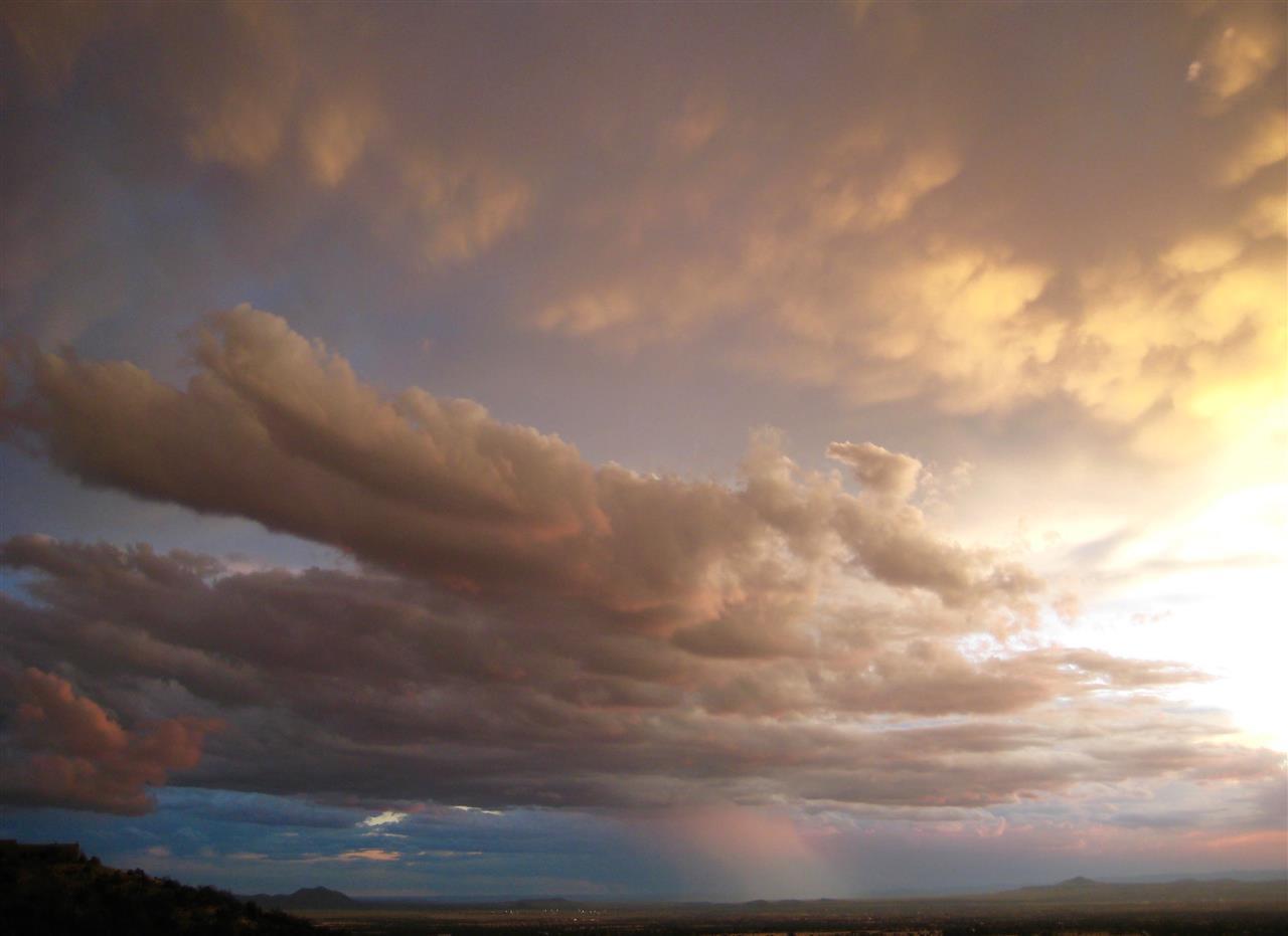 Santa Fe sunset and rain shower.